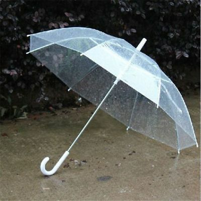 Umbrella Transparent Clear Rain Parasol Favor Wedding Party Dome Plastic Handle