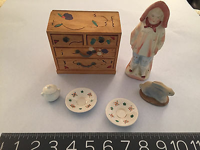 19th-20th century miniature lot porcelain, rare beach baby, painted dresser