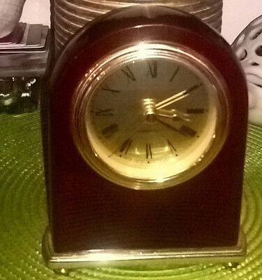 Antique look,quartz alarm clock, burgundy metal body, gold face, analog 12 hours