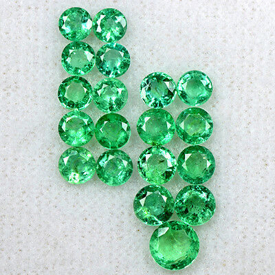 4.50 Cts Natural Top Green Emerald Round Cut Lot Zambia Untreated 3.6 upto 5.3mm