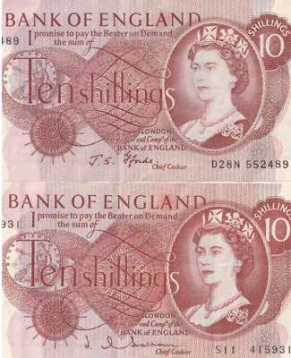 1960 's BANK OF ENGLAND TEN SHILLING NOTE VERY GOOD CIRC. BUT CRISP 100% GENUINE