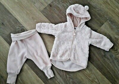 Baby girl H&M fleece hoodie and jogger set 2-4 months