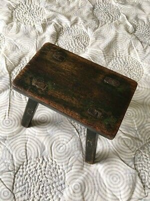 AAFA Primitive Antique Vermont Four Legged Stool with Original Green Paint