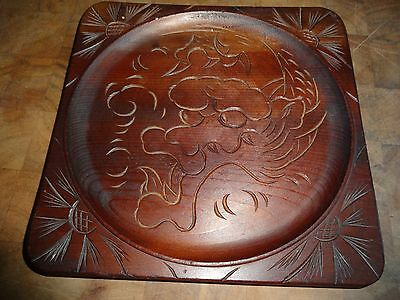 """Vintage Asian Wood Carved Dragon Tray 8"""" Square"""