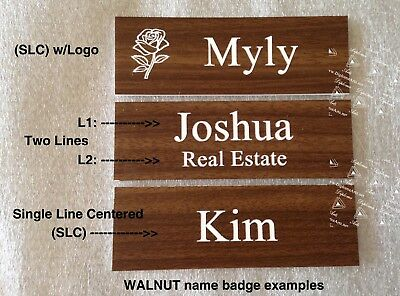(25 Lot) Custom / Personalized Employee Name Tags, WALNUT color, bulk pricing