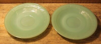 """Lot Of 2 Vintage Fire King JADEITE Green Glass Saucers 6"""" Plates +"""