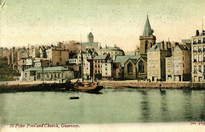 1900s postcard St Peter Port and Church GUERNSEY Channel Islands