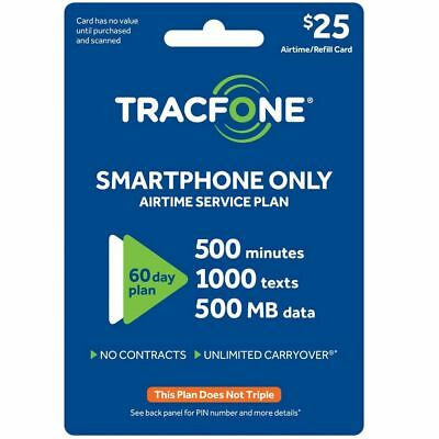 TracFone 500 Minute 1000 Text 500MB Data 60 Day Refill Card Smartphones Use Only