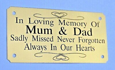 Brass Personalised Bench Memorial Plaque Plate Sign  4X2 Or 5X2