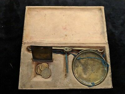 Antique Apothecary Brass Scale in Wooden Box with Henry Troemner Phila Weights