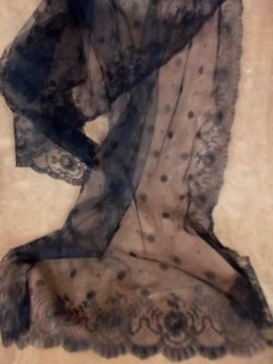 """Antique Victorian Edwardian Black Chantilly Cotton Lace Mourning Scarf 22x64"""""""