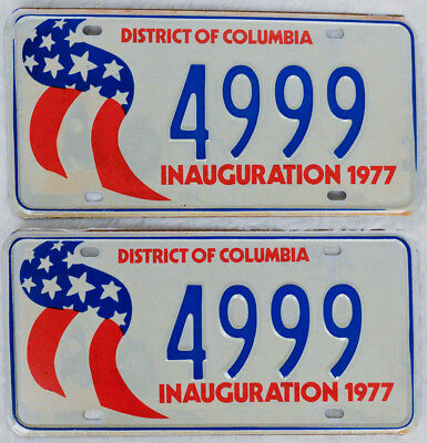 """1977 Inauguration District of Columbia License Plate """"4999"""" Pair"""