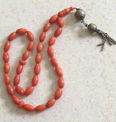 Vintage Genuine Natural Undyed Red Coral Prayer Beads Islamic Rosary 15 Grams