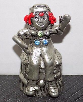 """Raggedy Andy Pewter Thimble with 3 Jewels on Torso 2"""" Tall Excellent Condition"""