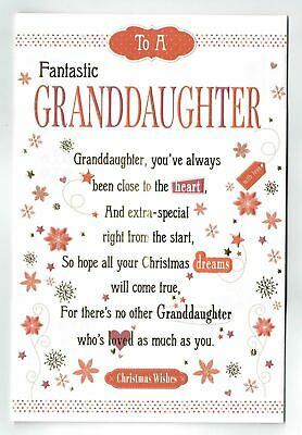 Christmas Card Verses.Granddaughter Christmas Card With Embossed With Sentiment Verse Pop Out Centre