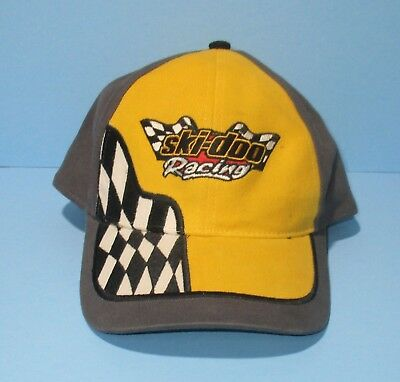 Ski-Doo Racing Cap Snowmobile Bombardier Hat Adjustable Back Checkered Flag