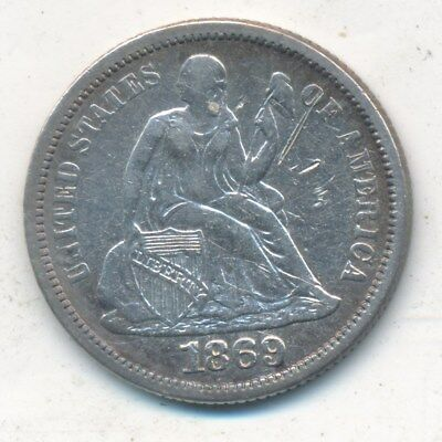 1869 Seated Liberty Silver Dime-Very Nice Gently Circulated Dime-Free Ship!