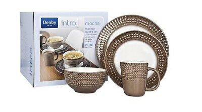 Denby Intro Textured Dinner Set, Mocha (PLATES/MUGS/BOWLS SOLD INDIVIDUALLY) NEW