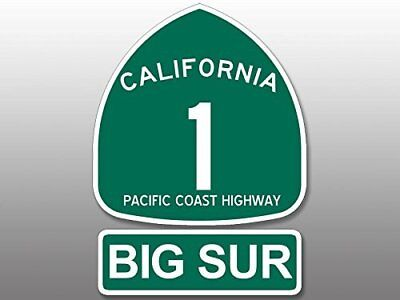 2 Pcs: 4x5.5 inch PCH Highway 1 Sign BIG SUR Sticker - ca california road route