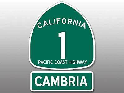 4x5.5 inch PCH Highway 1 Sign and CAMBRIA Sticker -ca california road route paso