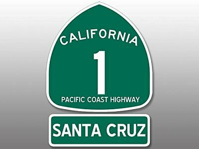 4x5.5 inch PCH Highway 1 Sign SANTA CRUZ Sticker - california road route sc rv