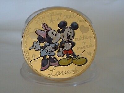 "Mickey Mouse and Minnie Mouse ""True Love"" 24k Gold Plated Souvenir Coin in Case."
