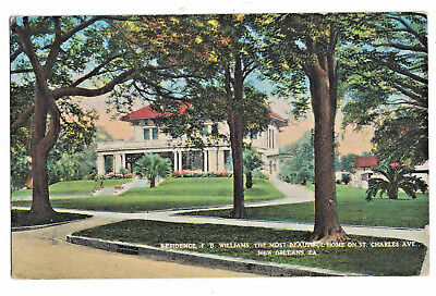 Postcard F. B. Williams Residence Most Beautiful Home St. Charles New Orleans La