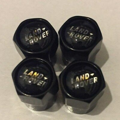 Land Rover Black Gloss Air Valve Dust Caps Car Wheel Tyre Caps 4 x pcs