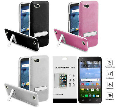 FOR ZTE ZFIVE G C Z557BL Z558VL Hybrid Glitter Stand Case Cover + Tempered  Glass