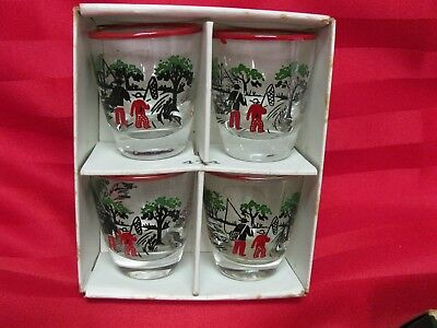 Libbey Glass Currier & Ives Holiday Hostess Set of 4 Jiggers, Shot Glasses 1940s