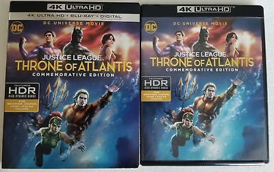 Justice League Throne Of Atlantis 4K Ultra Hd + Blu Ray With Slipcover Free Ship