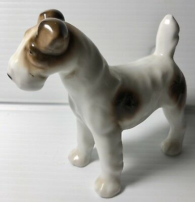 Vintage White and Brown Smooth Fox Terrier Dog Standing Figurine Germany