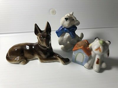 Lot 3 Vintage Dog Figurines Japan Dog Pin Cushion Dog With Blue Bow & Collie
