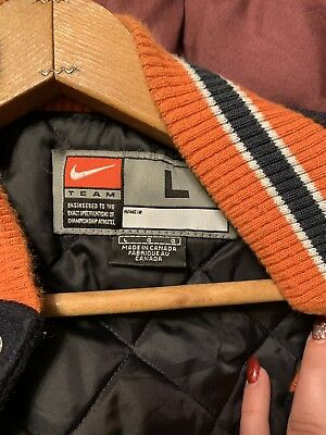 Vintage Chicago Bears Letterman Jacket Nike Wool With Leather Sleeves