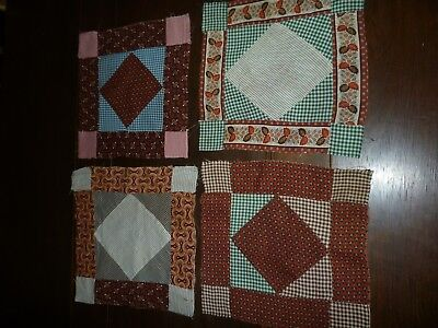 4 Antique Quilt Blocks 1800's Calico's Hand Pieced Copper Madder Early