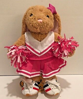 "Build A Bear Beige Rabbit Bunny Plush 15"" Tall with Pink Cheerleader Uniform"