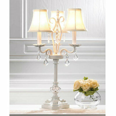 White Chandelier-Style Table Lamp Hanging Faceted Jewels Metal Framework Shades