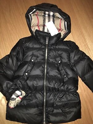 finest selection 68ad4 d7fc6 NEW  375 Burberry Girls Bronwyn Hooded Down Puffer Jacket Black, Size 8Y  128cm