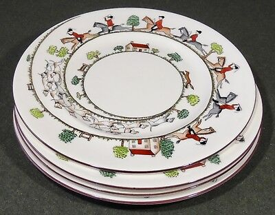 "4 Crown Staffordshire England Fine Bone China Hunting Scene 10 1/2"" Dinner Plate"