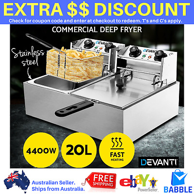 Commercial Deep Fryer Electric Twin Basket Double Fry Frying Chip Cooker Steel