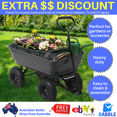 Outdoor Garden Trolley Wheelbarrow Wagon Cart Dump Trailer Hand Pull Yard Tip
