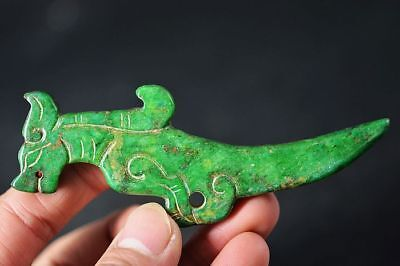 Exquisite Chinese old green jade hand-Carved *beasts* Amulet Pendant  A5
