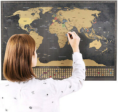 Scratch Off World Map Poster - Scratchable Large Size Portable Framable World +