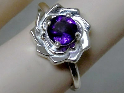 NATURAL 1ct PURPLE AMETHYST 925 sterling silver 12mm flower ring size 8 USA