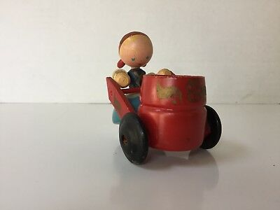 Vintage Antique Wooden Girl with Cart Toothpick or Match Holder
