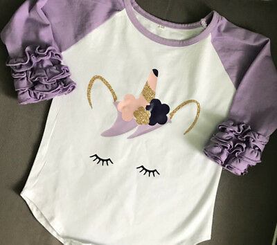 Newborn Toddler Baby Girls Cotton Fold Long Sleeve Unicorn Tops T-shirt Clothes