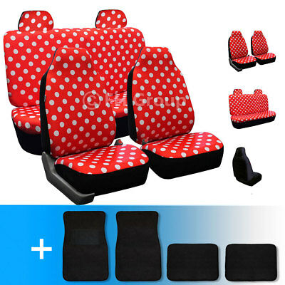 Red Highback Polka Dots Car Seat Covers W Carpet Floor Mats