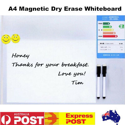 A4 Fridge Message Memo Board Magnetic Soft Whiteboard Home Office With 2 Markers