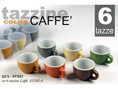 Set 6 Tazzine Caffe' Senza Piattino Tipo Bar Ceramica Color Colorata Pesante