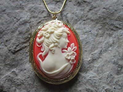 Victorian Woman Portrait Cameo Gold Plated Locket - Quality - Unique - Mothers